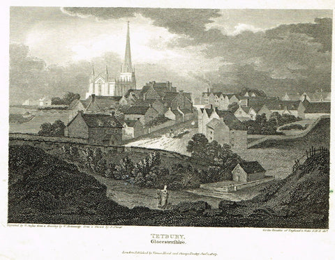 "The Beauties of England & Wales - ""TETBURY, GLOCCSTERSHIRE"" - Copper Engraving - 1806"