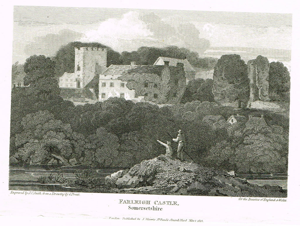 "The Beauties of England & Wales - ""FARLEIGH CASTLE, SOMERSETSHIRE"" - Copper Engraving - 1806"