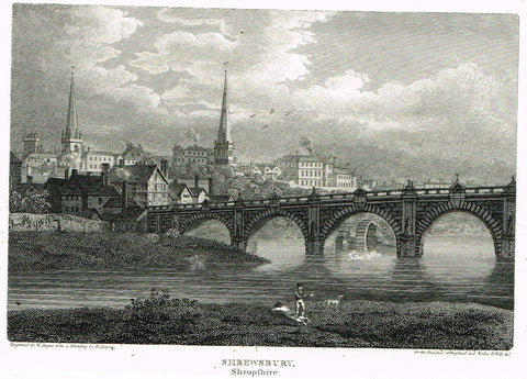 "The Beauties of England & Wales - ""SHREWSBURY, SHOPSHIRE"" - Copper Engraving - 1806"