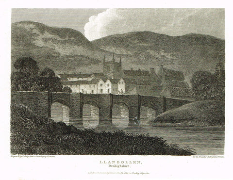 "The Beauties of England & Wales - ""LLANGOLLEN, DENBIGHSHIRE"" - Copper Engraving - 1806"
