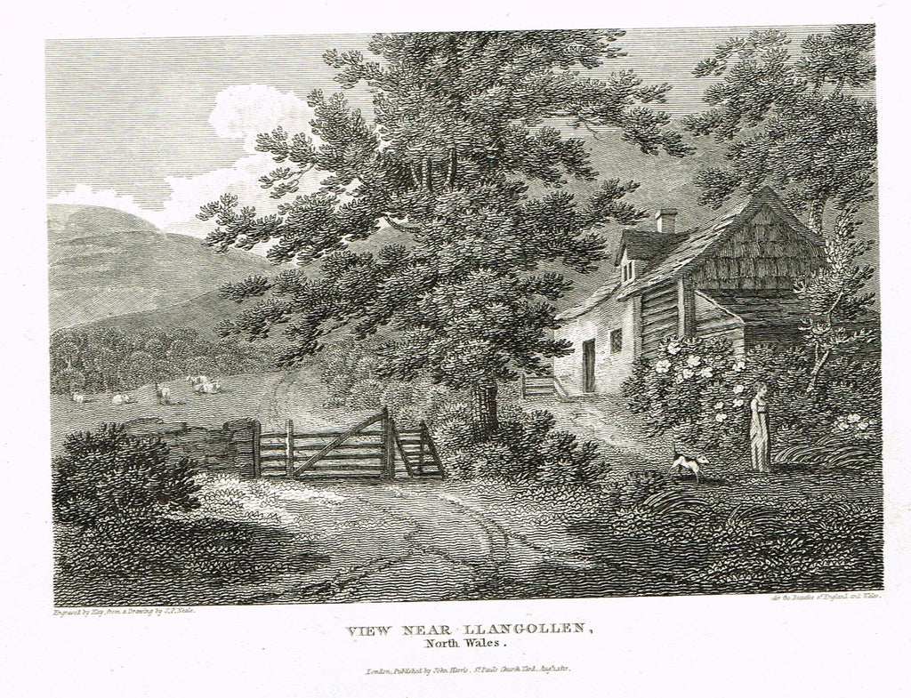 "The Beauties of England & Wales - ""VIEW NEAR LLANGOLLEN, NORTH WALES"" - Copper Engraving - 1806"
