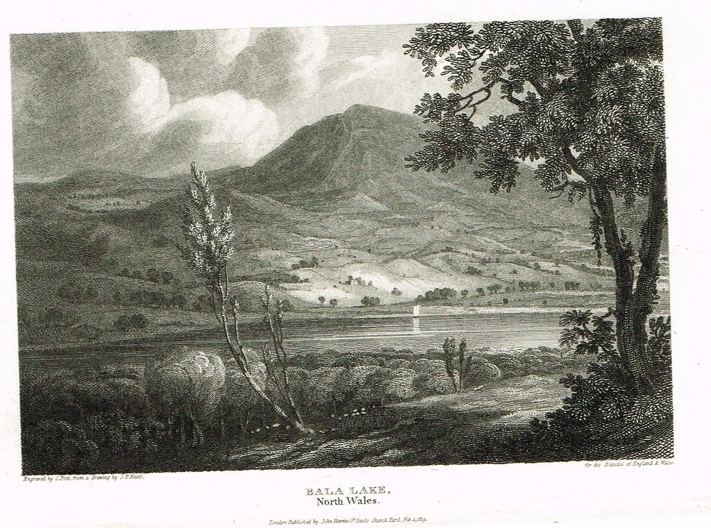 "The Beauties of England & Wales - ""BALA LAKE, NORTH WALES"" - Copper Engraving - 1806"