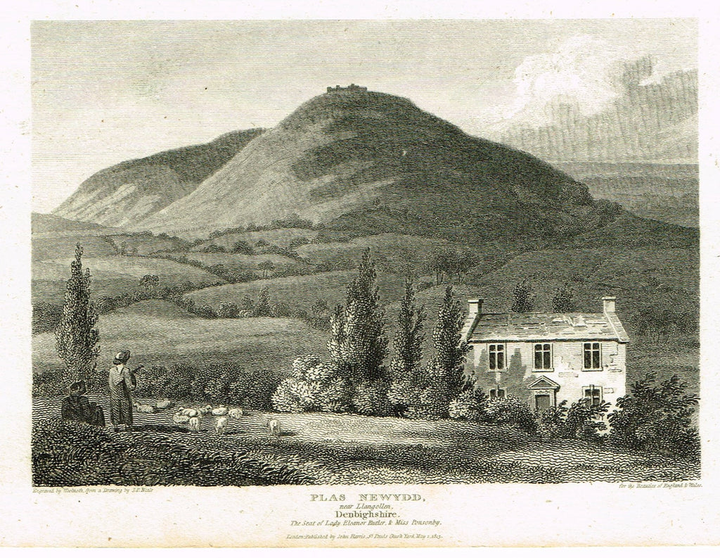 "The Beauties of England & Wales - ""PLAS NEWYDD, DENBIGHSHIRE- Copper Engraving - 1806"