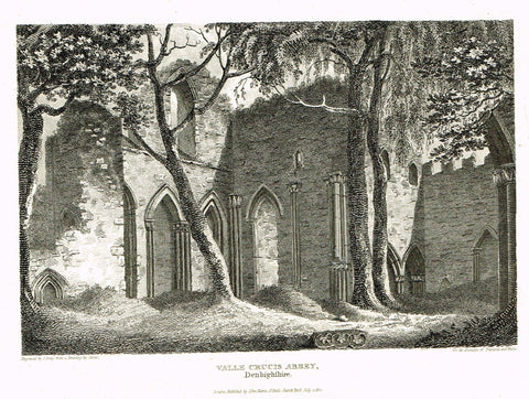"The Beauties of England & Wales - ""VALLE CRUCIS ABBEY, DENBIGHSHIRE"" - Copper Engraving - 1806"