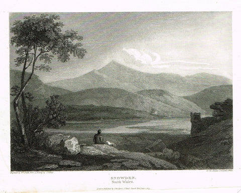 "The Beauties of England & Wales - ""SNOWDEN, NORTH WALES"" - Copper Engraving - 1806"