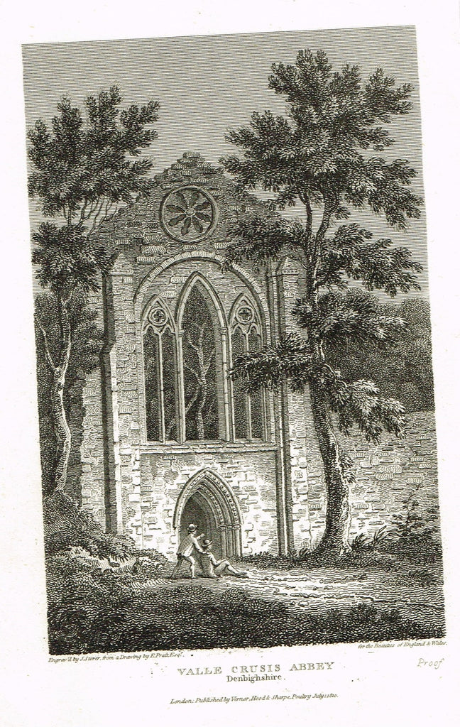 "The Beauties of England & Wales - ""VALLE CRUSIS ABBE 2, DENBIGHSHIRE"" - Copper Engraving - 1806"