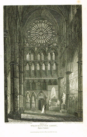 "The Beauties of England & Wales - ""WESTMINSTER ABBEY, POET'S CORNER"" - Copper Engraving - 1806"