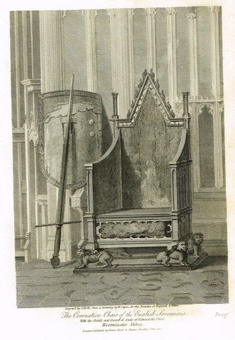 "The Beauties of England & Wales - ""CORONATION CHAIR, WESTMINSTER ABBEY"" - Copper Engraving - 1806"