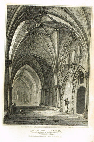 The Beauties of England & Wales - VIEW OF THE CLOISTERS, WESTMINSTER ABBEY - Eng - 1806