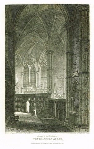 "The Beauties of England & Wales - ENTRANCE TO SOUTH AISLE WESTMINSTER ABBEY"" - Engraving - 1806"