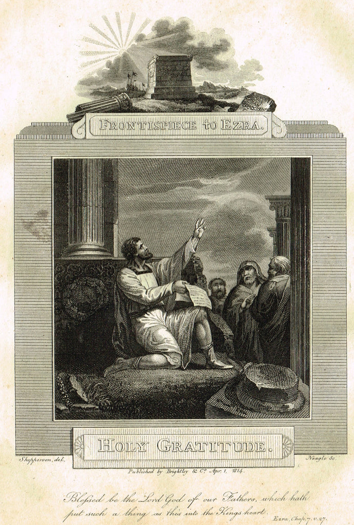 "Blomfield's Religious Prints - ""HOLY GRATITUDE - EZRA"" - Copper Engraving - 1813"