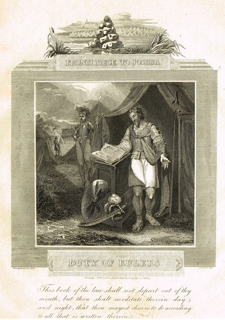 "Blomfield's Religious Prints - ""DUTY OF RULERS - JOSHUA"" - Copper Engraving - 1813"