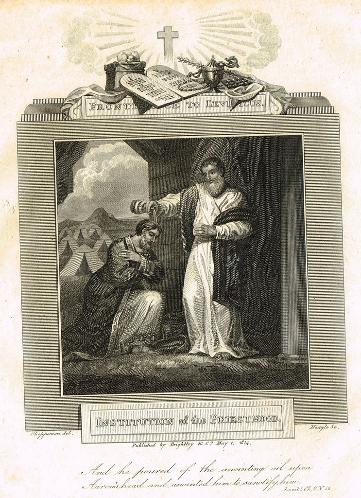 "Blomfield's Religious Prints - ""INSTIUTION OF THE PRIESTHOOD - LEVITICUS"" - Copper Engraving - 1813"