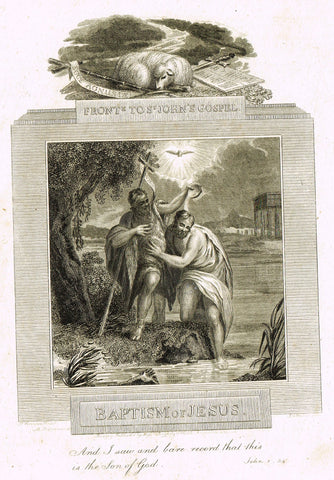 "Blomfield's Religious Prints - ""BAPTISM OF JESUS - ST. JOHN'S"" - Copper Engraving - 1813"