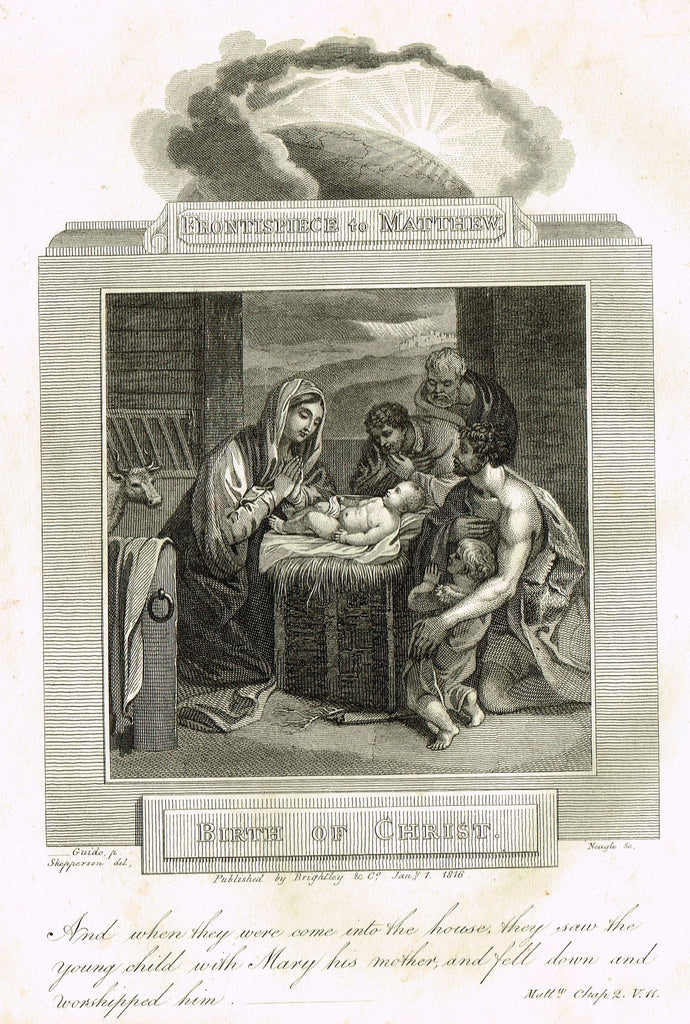 "Blomfield's Religious Prints - ""BIRTH OF CHRIST - MATTHEW"" - Copper Engraving - 1813"