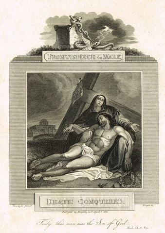 "Blomfield's Religious Prints - ""DEATH CONQUERED - MARK"" - Copper Engraving - 1813"