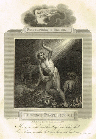 "Blomfield's Religious Prints - ""DIVINE PROTECTION - DANIEL"" - Copper Engraving - 1813"