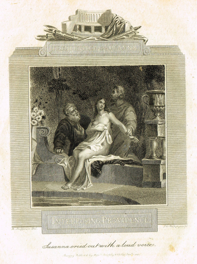"Blomfield's Religious Prints - ""INTERPOSING PROVIDENCE - SUSANNA"" - Copper Engraving - 1813"