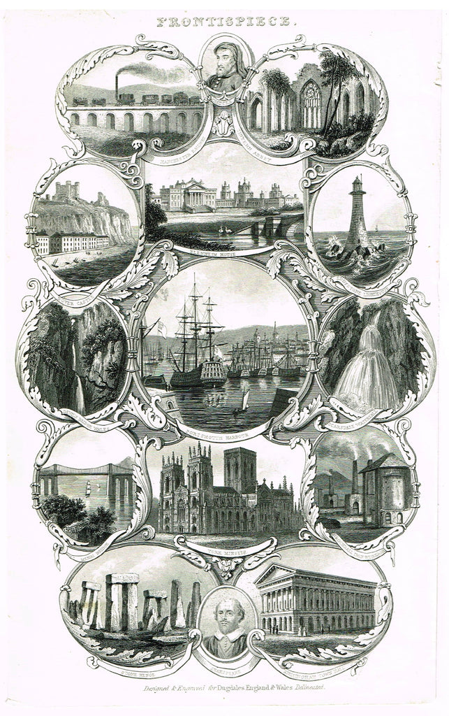 "Miscellaneous Travel - ""FRONTISPIECE OF DUGDALE'S ENGLAND & WALES DELINEATED - Engraving - c1840"