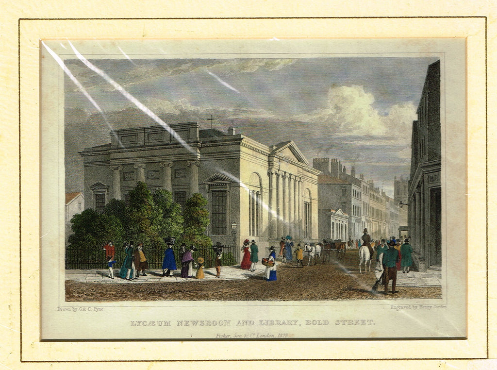 "Antique Scene ""LYCAEUM NEWSROOM AND LIBRARY, BOLD STREET"" - Hand Colored  Engraving - 1828"