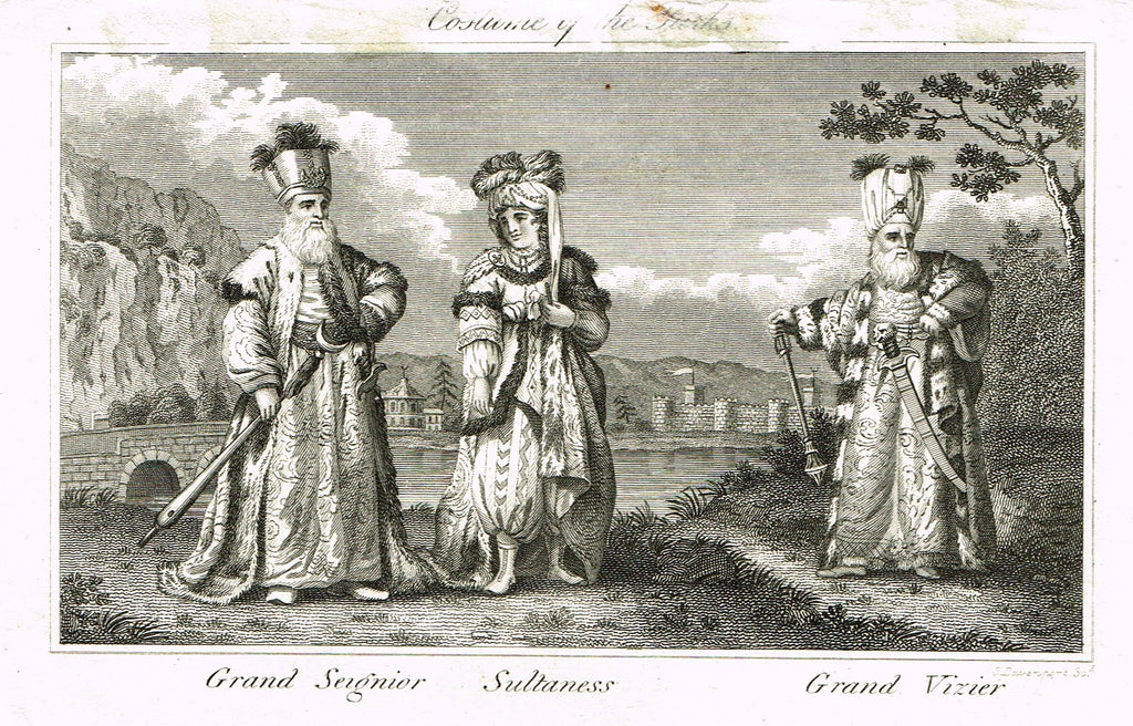 "Miscellaneous Races of Man - ""COSTUMES OF THE TURKS""  - Copper Engraving - c1820"