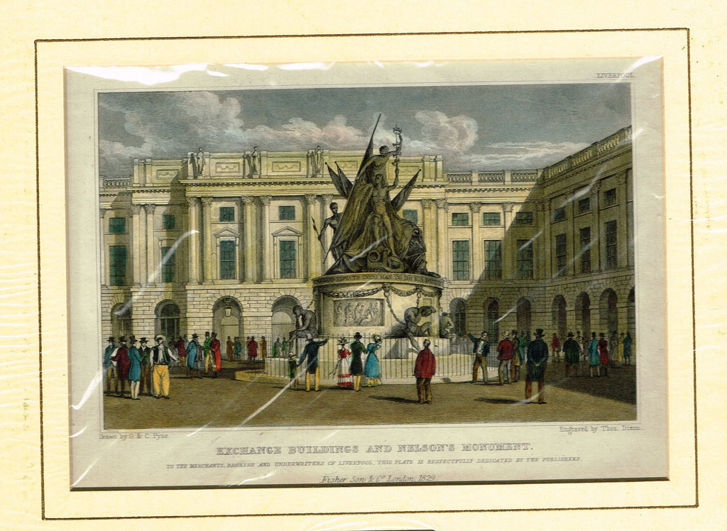 "Antique Scene ""EXCHANGE BUILDINGS & NELSON'S MONUMENT"" - Hand Colored  Engraving - 1829"
