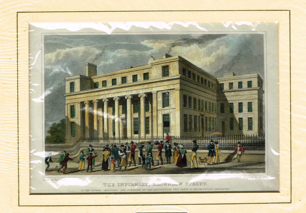 "Antique Scene ""THE INFIRMARY, BROWNLOW STREET"" by Allom - Hand Colored  Engraving - 1829"