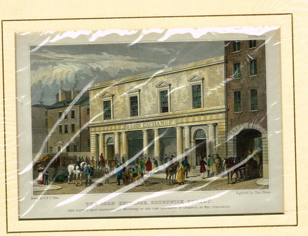 "Antique Scene ""THE CORN EXCHANGE, BRUNSWICK STREET"" by Dixon - Hand Colored  Engraving - 1829"