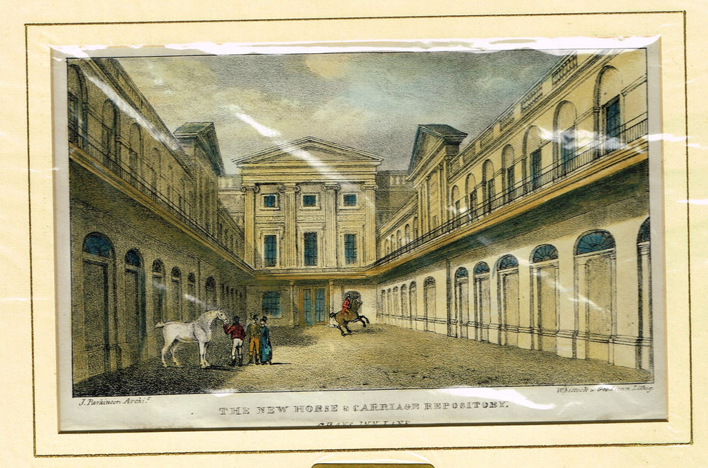 "Antique Scene ""THE NEW HORSE & CARRIAGE REPOSITORY, GRAY'S INN LANE"" - Hand Colored  Engraving - 1828"