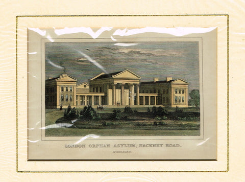 "Antique Scene ""LONDON ORPHAN ASYLUM, HACKNEY ROAD"" - Hand Colored  Engraving - 1851"