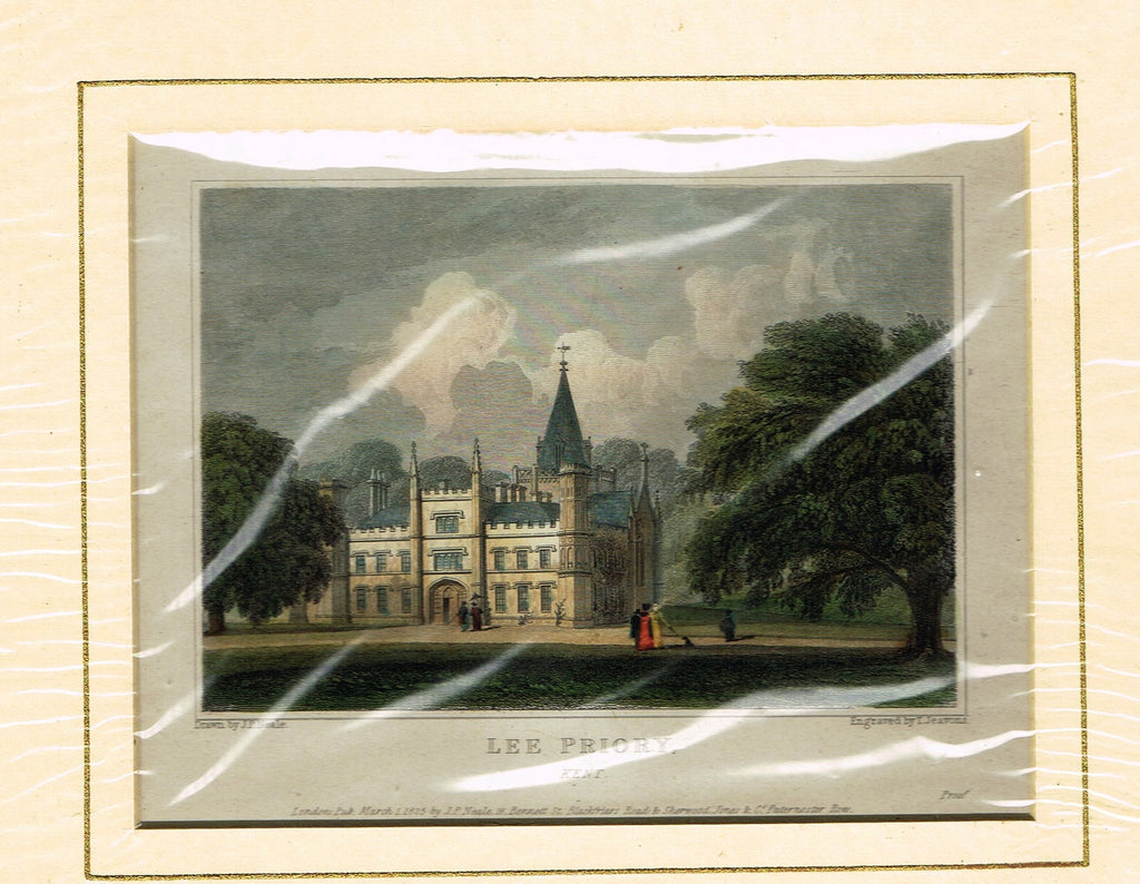 "Antique Scene ""LEE PRIORY, KENT"" - Hand Colored  Engraving - 1825"