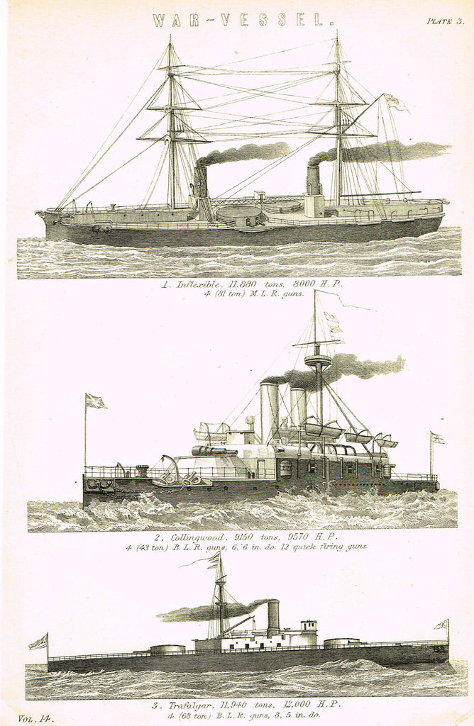 "Antique Marine Print - ""WAR VESSELS"" - Lithograph - c1890"