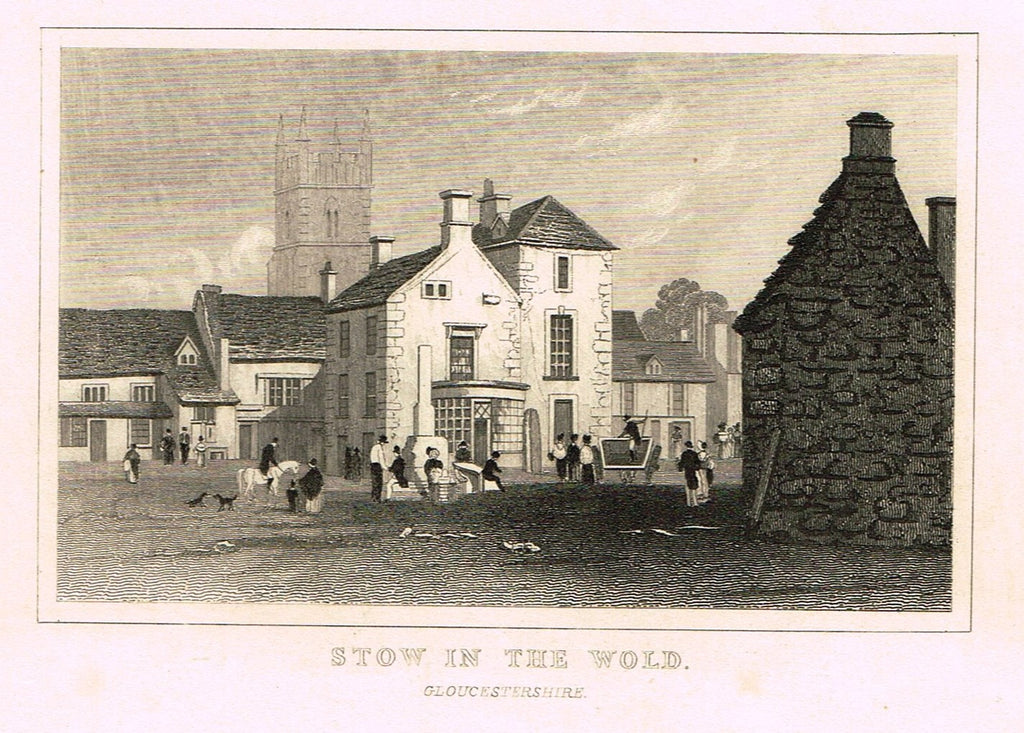 "Dugdale's Miniatures - ""STOW IN THE WOLD - GLOUCESTERSHIRE"" - Engraving - c1830"