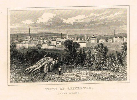 "Dugdale's Miniatures - ""TOWN OF LEICESTER, LEICESTERSHIRE"" - Engraving - c1830"