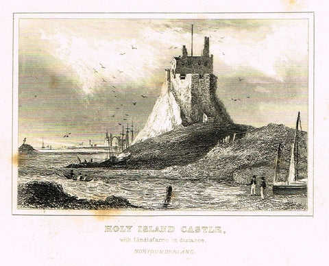 "Dugdale's Miniatures - ""HOLY ISLAND CASTLE - NORTHUMBERLAND"" - Engraving - c1830"