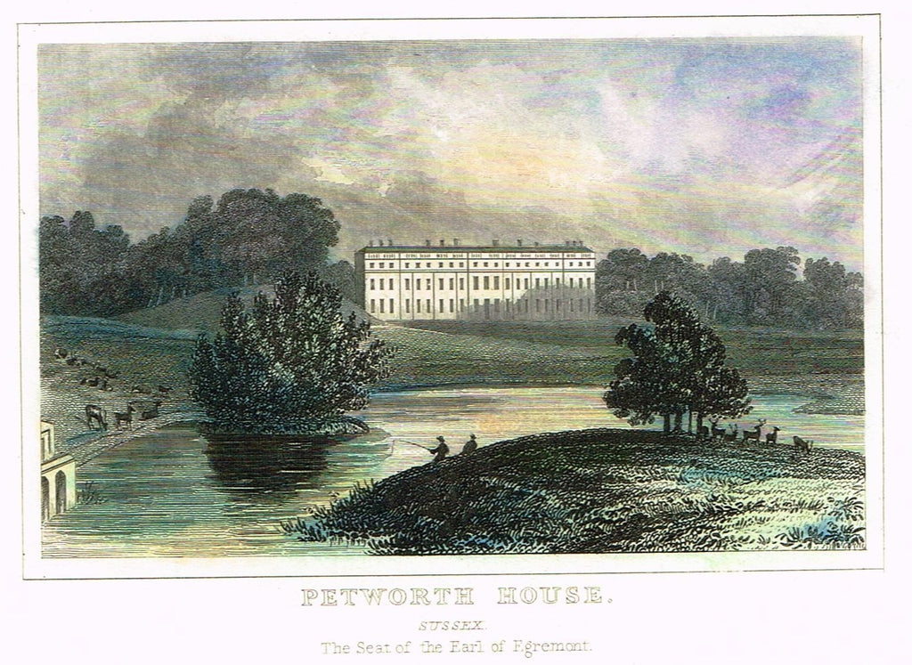 "Dugdale's Miniatures - ""PETWORTH HOUSE - SUSSEX"" - Hand Colored Engraving - c1830"