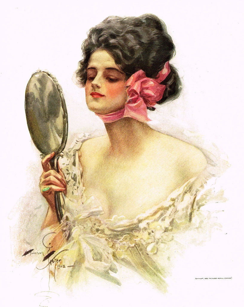 "Harrison Fisher's - ""LOVELY WOMAN WITH MIRROR"" - lithograph - 1908"