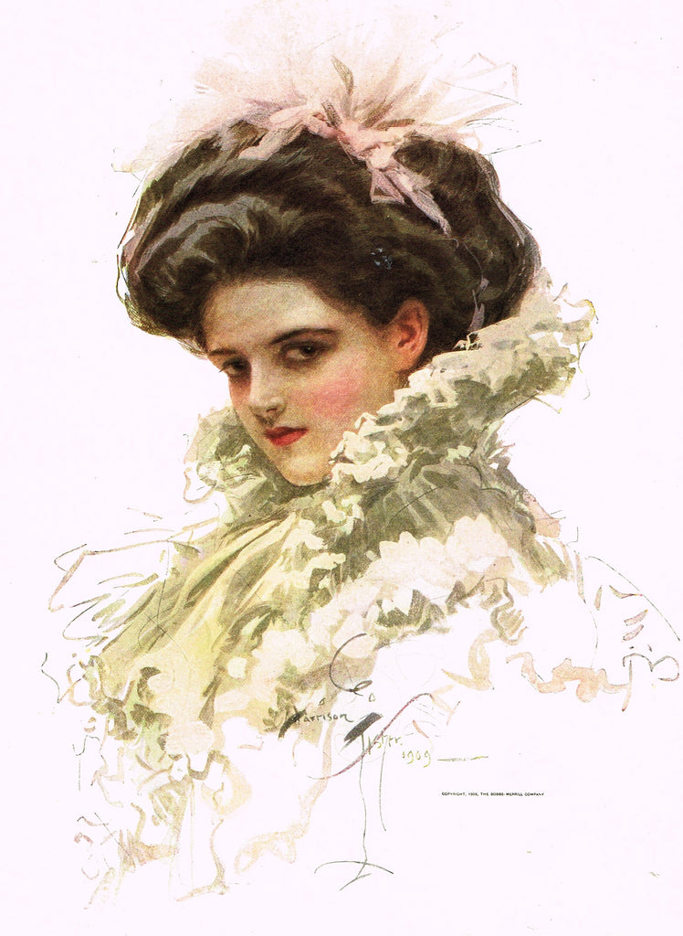 "Harrison Fisher's - ""LOVELY WOMAN WITH PINK HAIR BOW"" - Lithograph - 1908"