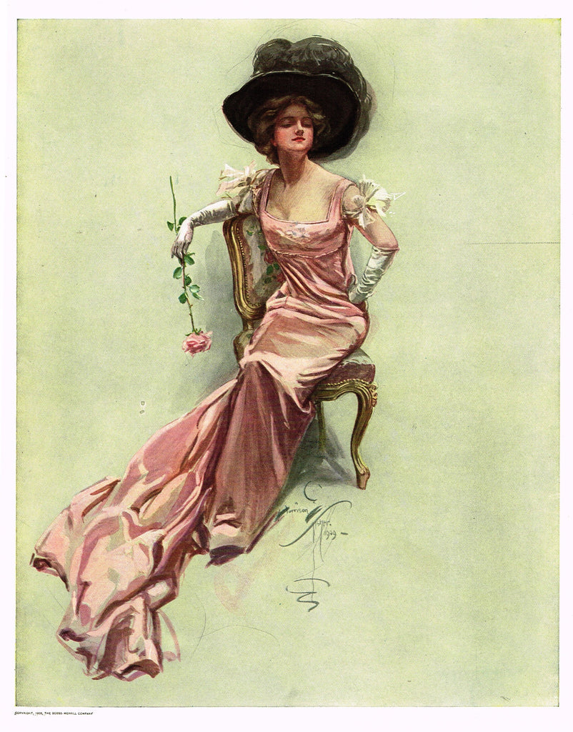 "Harrison Fisher's - ""LOVELY WOMAN WITH PINK ROSE"" - Lithograph - 1908"