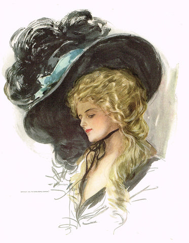 "Harrison Fisher's - ""LOVELY WOMAN WITH BIG BLACK HAT"" - Lithograph - 1908"