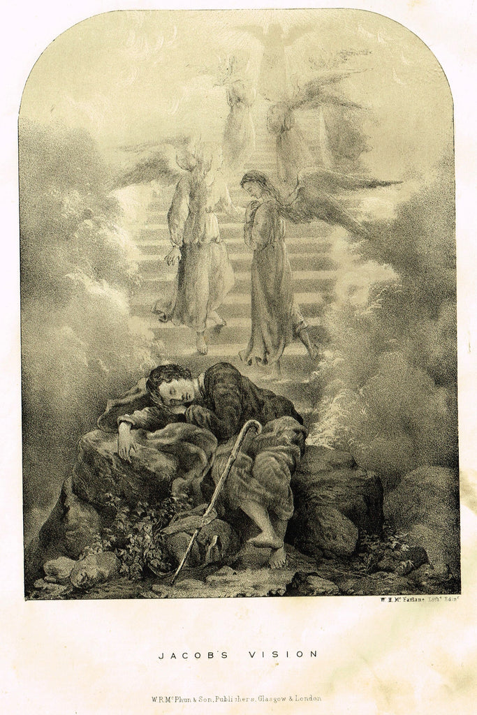 "Antique Religious Print - ""JACOB'S VISION"" - Lithograph - c1850"