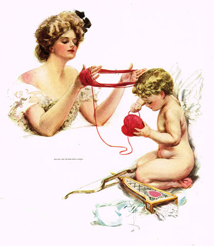 "Harrison Fisher's - ""LOVELY WOMAN WITH CUPID"" - Lithograph - 1908"
