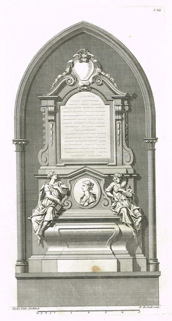 Gibbs's  - MONUMENT FOR MRS. CATHRINA BOVEY, WESTMINSTER ABBEY - Engraving - 1739