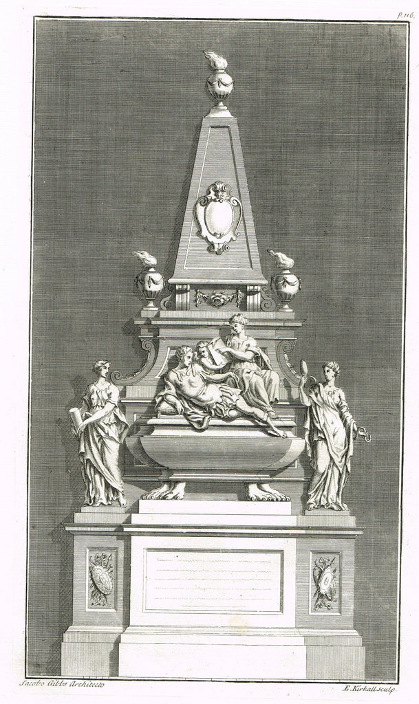 "Gibbs's Architecture - ""MONUMNET FOR DUKE OF BUCKINGHAM"" - Copper Engraving - 1739"