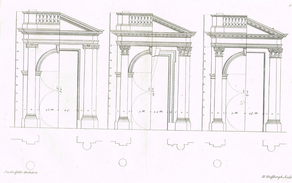 "Gibbs's Architecture - ""PROPORTION OF GATES TO DOORS"" - Copper Engraving - 1739"