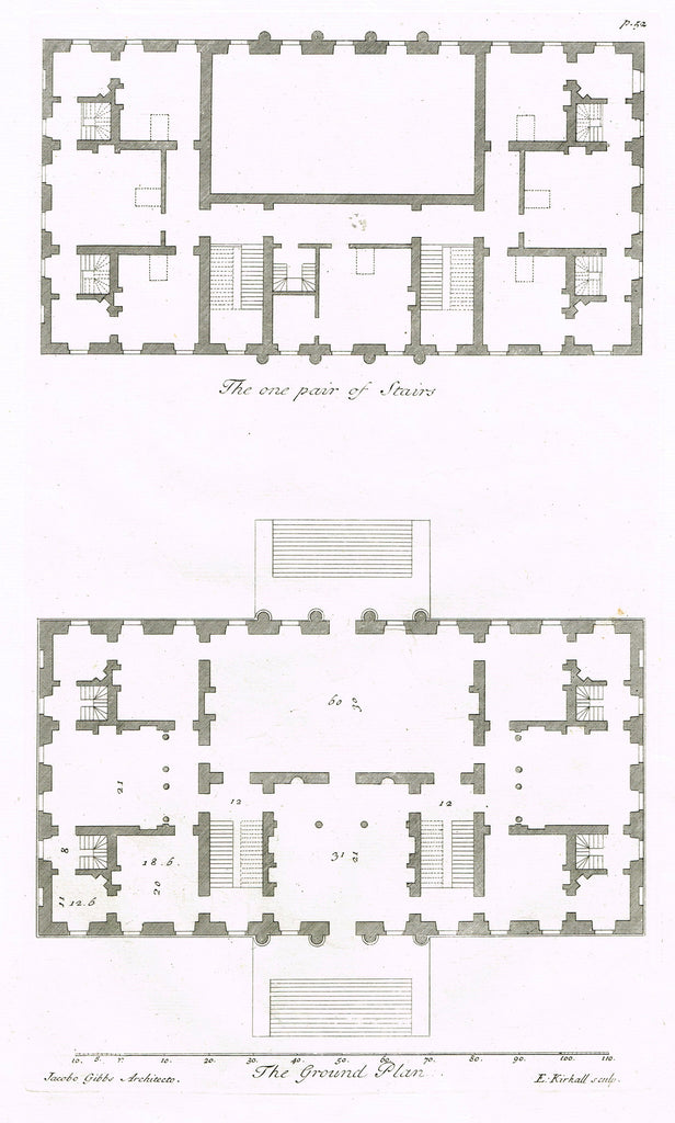 "Gibbs's Architecture - ""DRAUGHT FOR HOUSE FOR EDWARD ROLT, SEACOMB PARK"" - Copper Engraving - 1739"