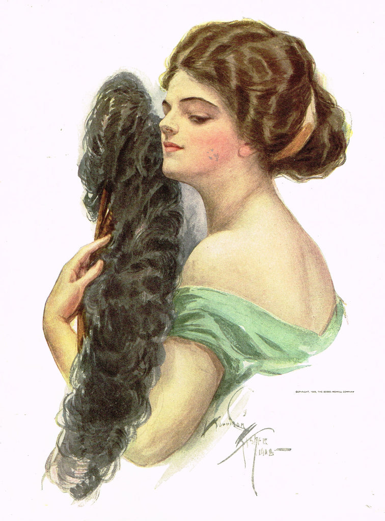 "Harrison Fisher's - ""LOVELY WOMAN WITH FEATHER FAN"" - Lithograph - 1908"