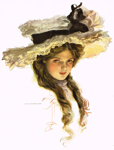 "Harrison Fisher's - ""LOVELY WOMAN WITH WIDE HAT"" - Lithograph - 1908"