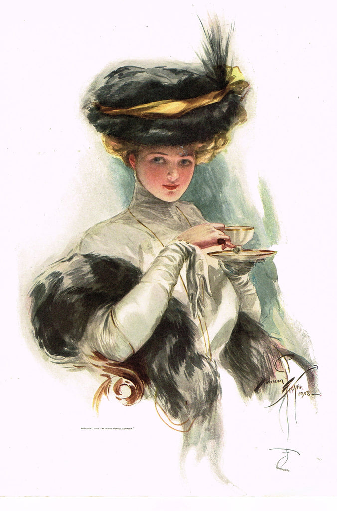 "Harrison Fisher's - ""LOVELY WOMAN WITH TEA CUP"" - Lithograph - 1908"