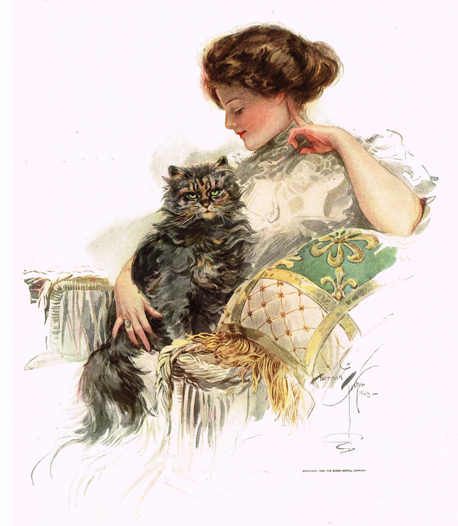 "Harrison Fisher's - ""LOVELY WOMAN WITH BLACK CAT"" - Lithograph - 1908"